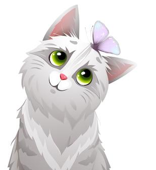 Gatto o gattino che gioca con la farfalla