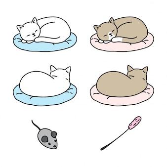 Gatto gattino che dorme cuscino cartone animato