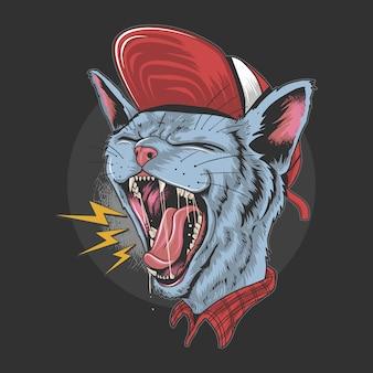 Cat kitty scream over rock n roll punker artwork