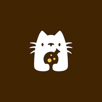 Illustrazione dell'icona di vettore del logo dello spazio negativo chimico del laboratorio del laboratorio del gatto