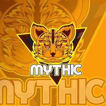 Mascotte o emblema del logo del gatto per la squadra di esport