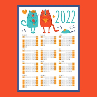 Cat love calendar 2022 anno modello stampabile pagina di pianificazione dell'organizzatore aziendale
