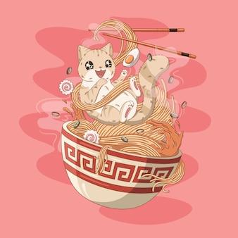 Cat love ramen noodles illustrazione