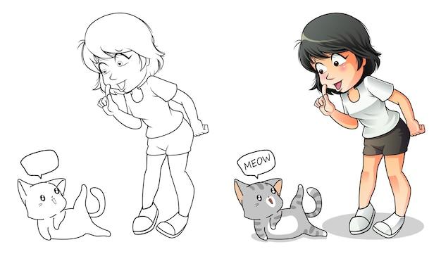 Pagina da colorare di cartoni animati amante dei gatti per i bambini Vettore Premium