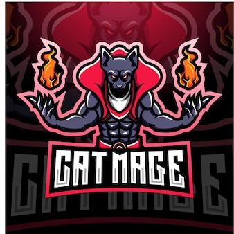 Cat mage esport logo mascotte design
