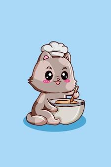 Gatto che fa una torta cartone animato