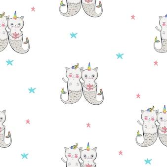 Modello senza cuciture di gatto sirena. gemelli felici. illustrazione vettoriale eps 10