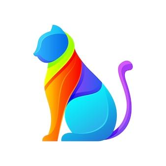 Cat modern logo illustration template