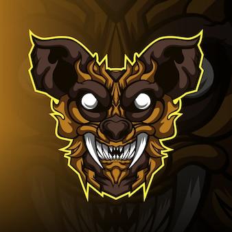 Logo della mascotte di gioco di gatto monstrer