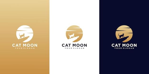 Set di modelli di logo di gatto e luna