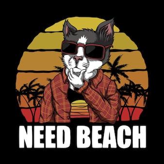 Il gatto ha bisogno della retro illustrazione di tramonto della spiaggia