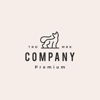 Modello di logo vintage hipster monolinea di gatto contorno