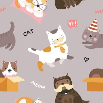Modello di gatto. gattini svegli, divertenti giocosi animali domestici vettore senza soluzione di continuità trama tessile infantile. miagolio del gatto dell'animale domestico, illustrazione del tessuto del modello animale