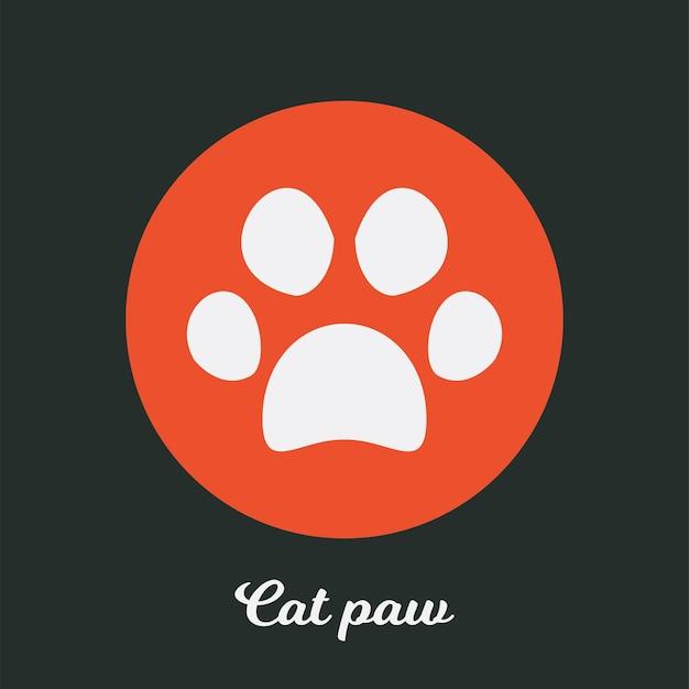 Disegno dell'icona piatta della zampa di gatto, elemento simbolo del logo