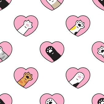 Zampa di gatto seamless pattern cuore san valentino gattino calico cartoon