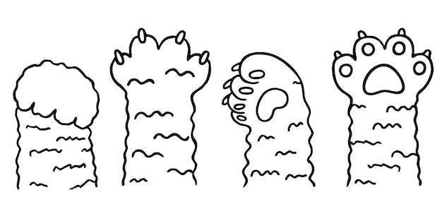Zampa di gatto icona vettoriale gattino impronta logo personaggio collezione di cartoni animati di varie gambe di gattini