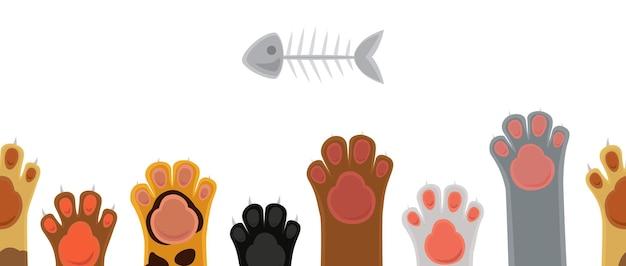 Zampe di gatto. simpatico cartone animato piedi gatti e scheletro di pesce.