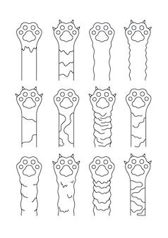 Zampe di gatto. schizzo linea animali domestici, semplici impronte di gattini divertenti.