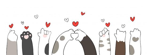 Zampe di gatto con cuoricino per san valentino. Vettore Premium