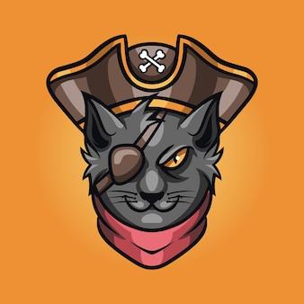 Cat pirate esport gaming logo