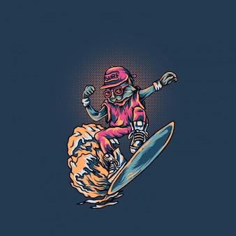 Il gatto gioca il surf nel giorno di estate