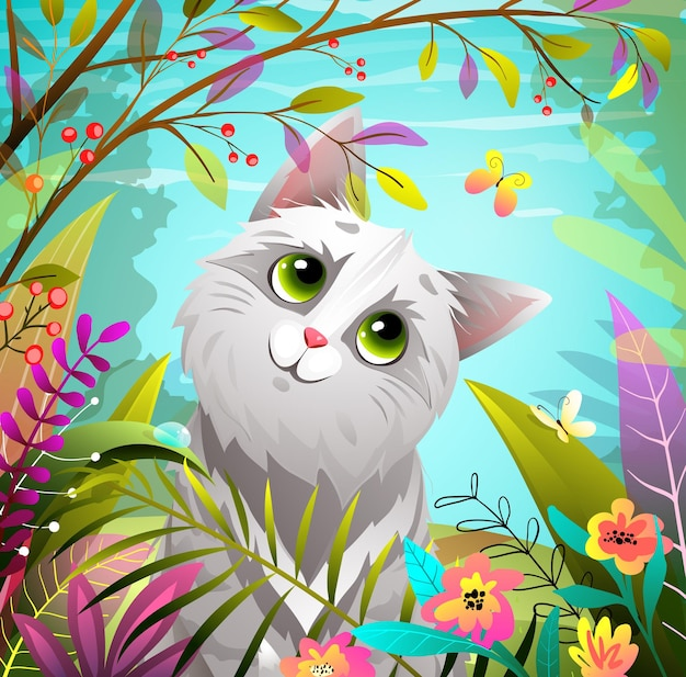 Gatto che gioca nel parco naturale estivo o nella foresta con la farfalla