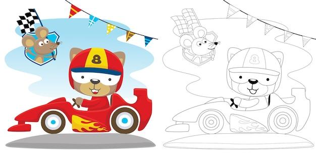 Giro del gatto su un'auto veloce con un topo che trasporta la bandiera del traguardo