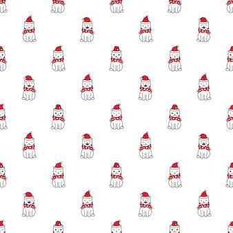 Cat seamless pattern natale babbo natale gattino cartone animato