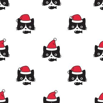 Cat seamless pattern natale babbo natale gattino faccia