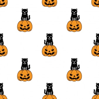 Gatto seamless pattern halloween zucca gattino cartoon