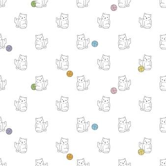 Gatto senza cuciture gattino calico cartone animato gomitolo di lana