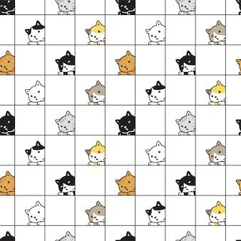 Doodle del fumetto del carattere della razza dell'animale domestico del calicò del gattino del modello senza cuciture del gatto