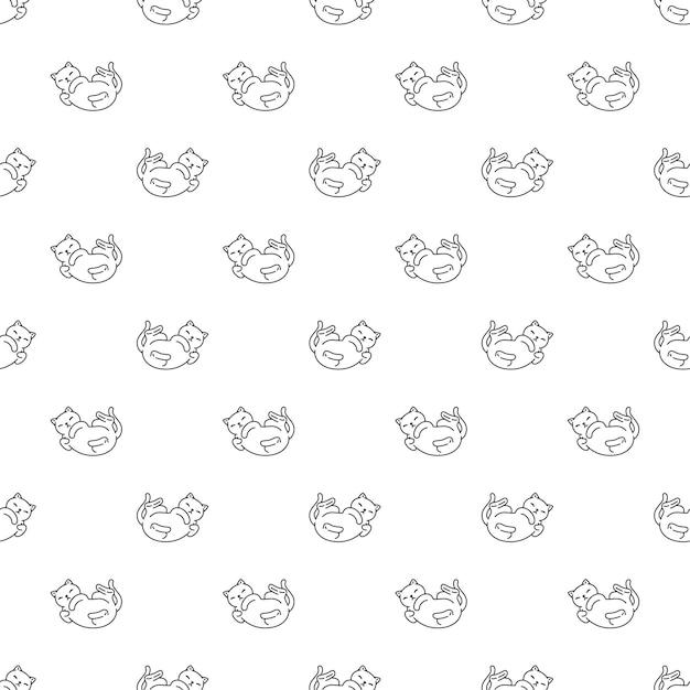 Fumetto del carattere di doodle dell'animale domestico del calicò del gattino del modello senza cuciture del gatto