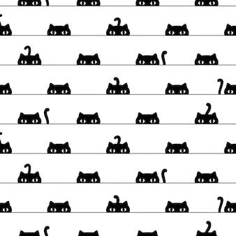 Illustrazione dell'animale domestico del fumetto del gattino del modello senza cuciture del gatto