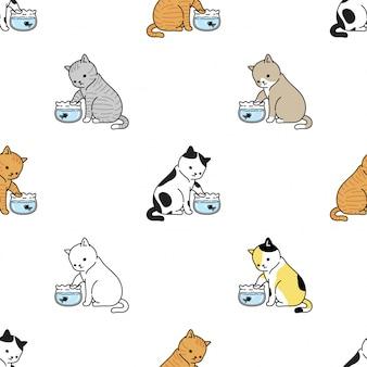 Illustrazione senza cuciture del fumetto della ciotola del pesce dell'oro del gattino del modello del gatto