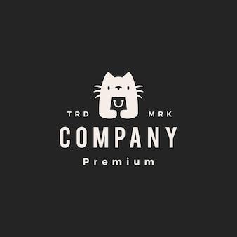 Cat shop shopping bag negozio hipster logo vintage icona illustrazione vettoriale