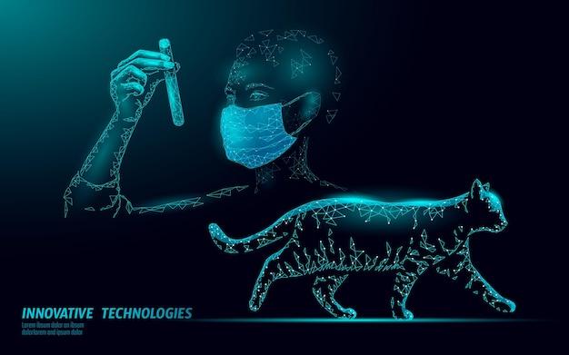 Clinica veterinaria di sagoma di gatto. infezione da virus del microscopio di analisi. illustrazione di aiuto medico di cura veterinaria.