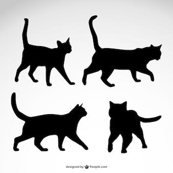 Vettore sagome di gatto disegno