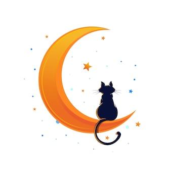 Gatto seduto su una falce di luna circondato da stelle