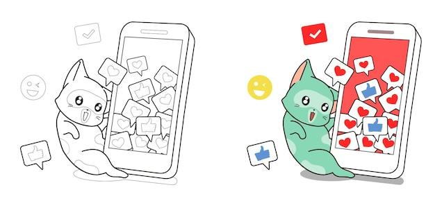 Gatto e smart phone con icone sociali dei cartoni animati da colorare pagina