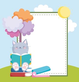 Studente gatto con libro