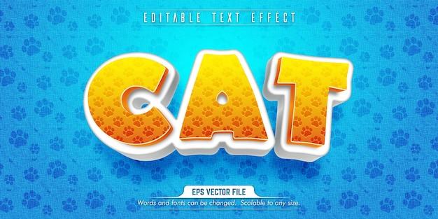 Testo di gatto, effetto di testo modificabile in stile cartone animato