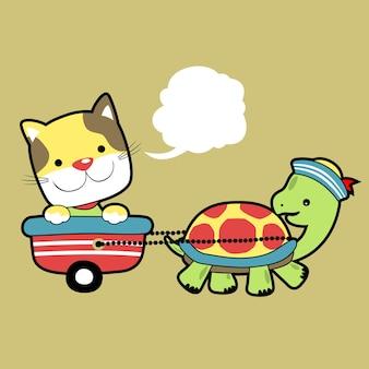 Gatto e vettore tartaruga tartaruga
