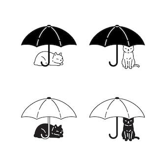Icona del fumetto del carattere dell'ombrello del gatto