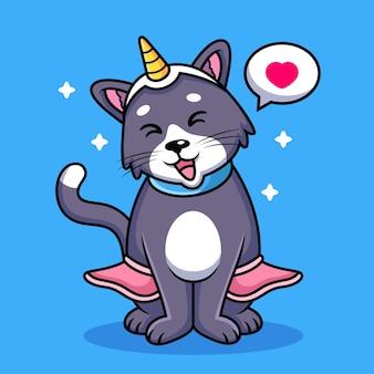 Cartone animato gatto unicorno con posa carina. icona animale illustrazione