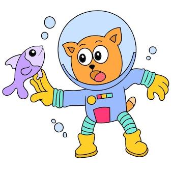 Gatto che usa l'attrezzatura per l'immersione nell'acqua che gioca con i pesci, disegno di un simpatico personaggio scarabocchio. illustrazione vettoriale