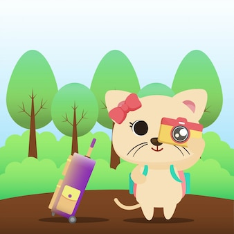 Gatto in vacanza illustrazione
