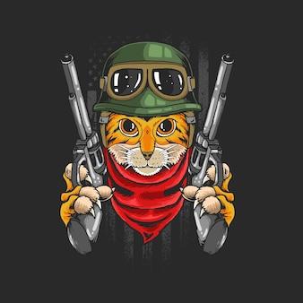 Guerriero gatto con pistole isolato sul nero