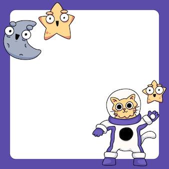 Gatto che indossa la tuta spaziale con stelle e luna simpatico cartone animato illustrazione