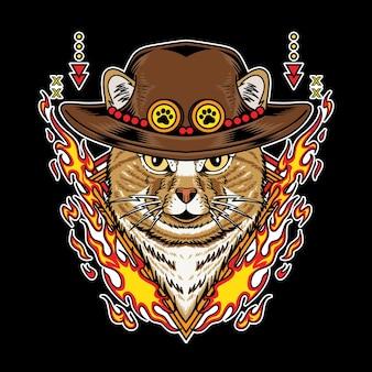 Gatto che indossa un cappello di paglia e ha un'illustrazione vettoriale dell'elemento fuoco isolata su sfondo nero Vettore Premium
